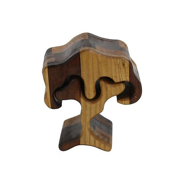1970s Hand-Carved Puzzle Box Tree - Image 4 of 4
