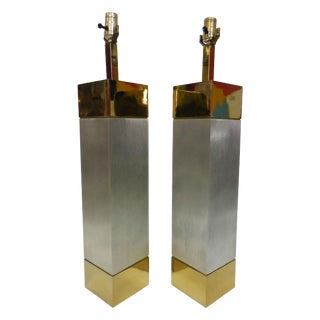 Laurel Brushed Aluminum & Brass Lamps - A Pair