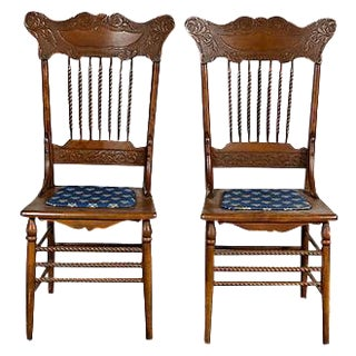 Oak Pressed Back Chairs - A Pair
