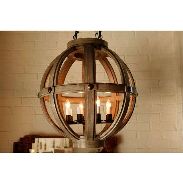 Customizable Paul Marra Large Carved Sphere Chandelier - Image 7 of 8