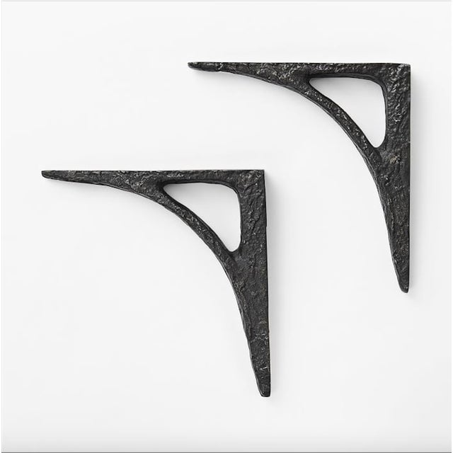 Image of Modern Cast Iron Black Shelf Brackets - Set of 6