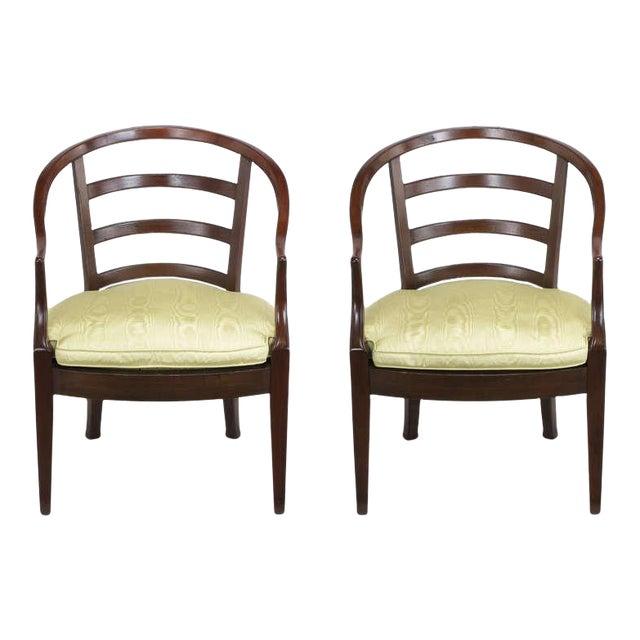 Pair Bert England For Baker Mahogany Barrel Back Arm Chairs - Image 1 of 10