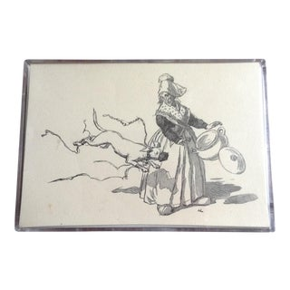 "Vintage French Country Woman Engraving in Acrylic Box Frame - 5"" x 4"""
