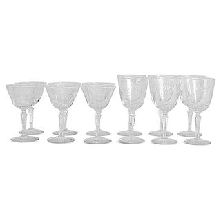 Starburst Cut Crystal Stemware - Set of 12