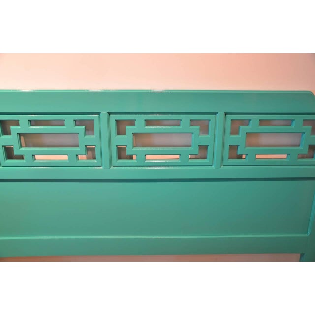 Lacquered Green Queen Fretwork Headboard - Image 5 of 5