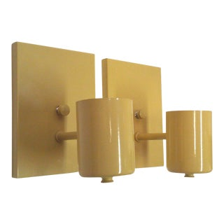 1970s Vintage Modern Yellow Wall Sconces - a Pair