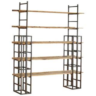 Custom-Made Adjustable Industrial Style Steel and Wood Plank Etagere