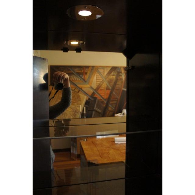 Image of Milo Baughman Burl & Chrome Skyscraper Bar Cabinet