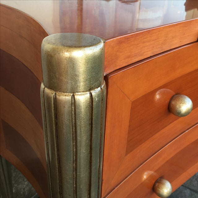 Art Deco Custom Cherry Nighstands - A Pair - Image 6 of 10