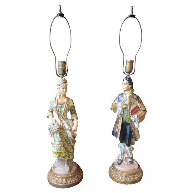 1950s Antique Chalkware Figurine Lamps