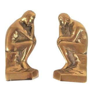 "1970s Rodin Hollywood Regency Style Brass ""The Thinker"" Bookends - a Pair"