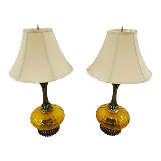 Amber Glass Lamps - A Pair