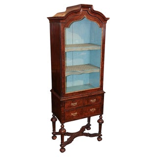 English Queen Anne Vitrine Cabinet