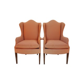 Hollywood Regency Wingback Chairs - Pair