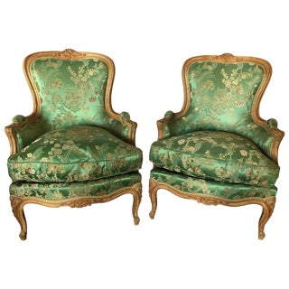 Pair of French Jansen Louis XV Style Bergère Chairs in Fine Fabric