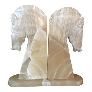 Alabaster Horse Head Bookends - A Pair