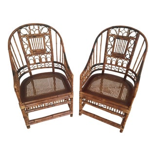 Vintage Brighton High Back Bamboo Chairs - A Pair