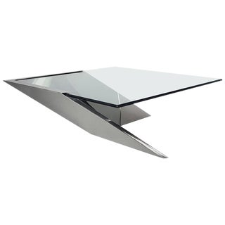 Brueton J. Wade Beam Cantilevered Stainless Steel Coffee Table
