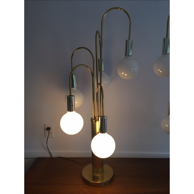 Mid-Century Brass Waterfall Table Lamps - A Pair - Image 6 of 11