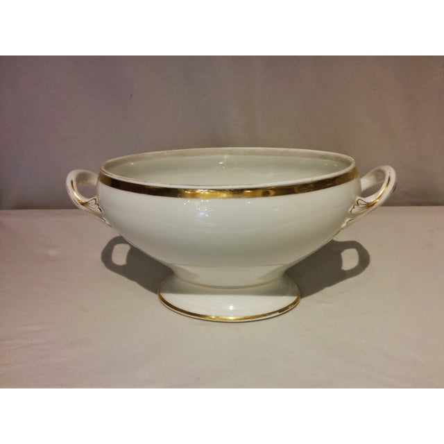 Image of Limoges Porcelain White & Gold Tureen