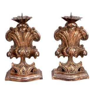 Antique Italian Wooden Amphora Candle Holder - Pair