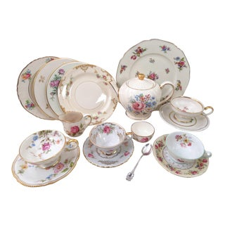 Vintage Mommy & Me Tea Party Set in Mismatched Fine China - 18 Piece