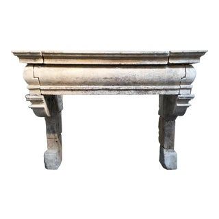 17th Century Antique Transitional Limestone Mantel - Grande Bombé