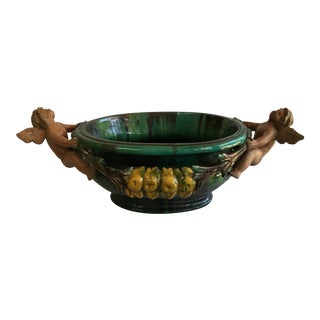 Italian Glazed Pottery Centerpiece Bowl
