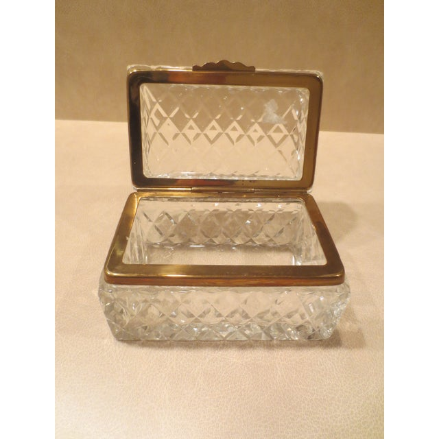 Large Cut Glass & Brass Antique French Vanity Box - Image 7 of 7