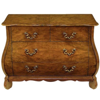 "Baker ""Collectors Edition"" Figured Walnut Bombe Three-Drawer Commode"