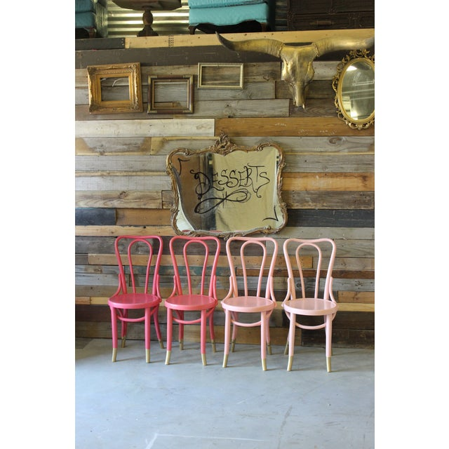 Mid-Century Coral Ombre Bentwood Chairs - Set of 4 - Image 3 of 7