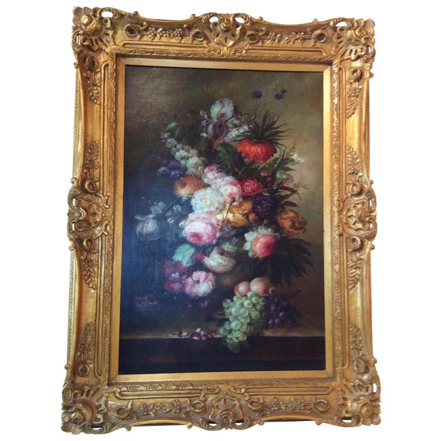 Large Floral Oil Painting in Ornate Gilded Frame - Image 1 of 10