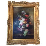Image of Large Floral Oil Painting in Ornate Gilded Frame