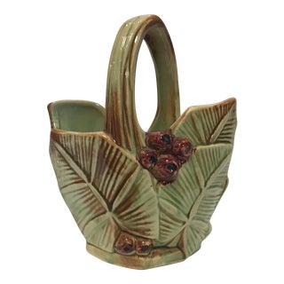 Leaf & Berry Design McCoy Pottery Basket
