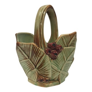 Leaf & Berry Design McCoy Pottery Basket