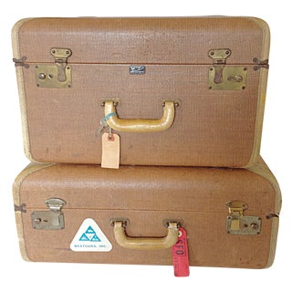 Woven Tan Fabric Matching Luggage - Pair