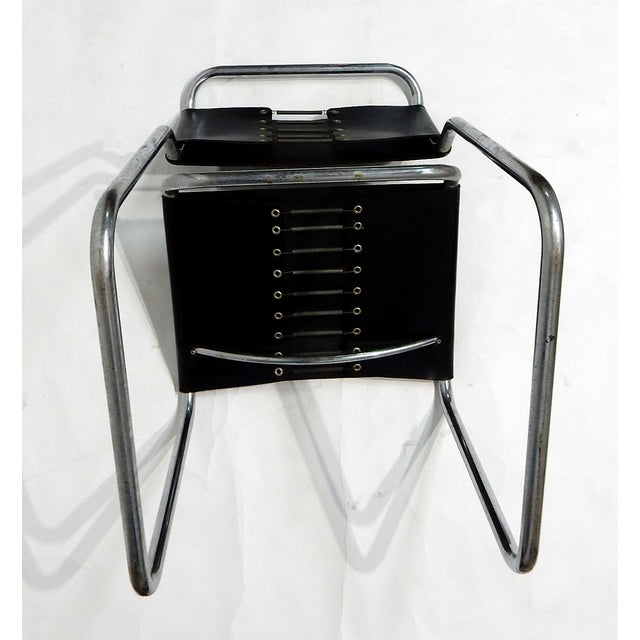Image of Nico Zograph Chrome Leather Sling Chairs - S/4
