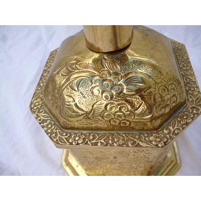 Golden Oriental Style Brass Lamp - Image 4 of 7