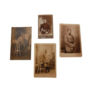 Antique French Soldier Photos - Set of 4