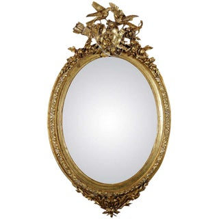 French Gilt Mirror with Love Birds