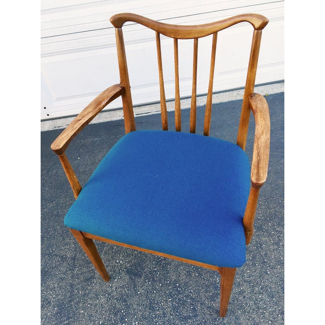 Image of Mid-Century Spindle Back Blue Chairs - Set of 3
