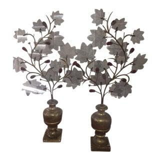 18th Century Italian Gilt Wood Urn Sculptures - A Pair