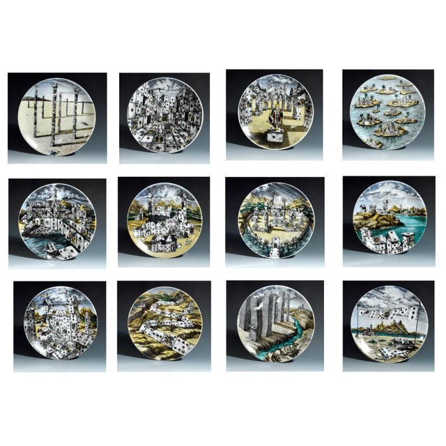 Piero Fornasetti Citta DI Carte City of Cards Plates in Complete Set of Twelve - Image 2 of 10