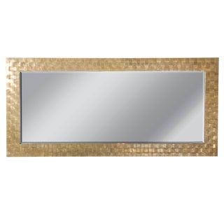 Mid Century Modern Brass Basketweave Decorative Mirror