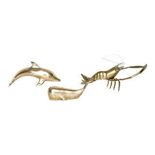 Brass Whale, Dolphin and Lobster - Set of 3