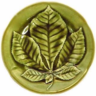 Antique French Majolica Chestnut Leaf Plate
