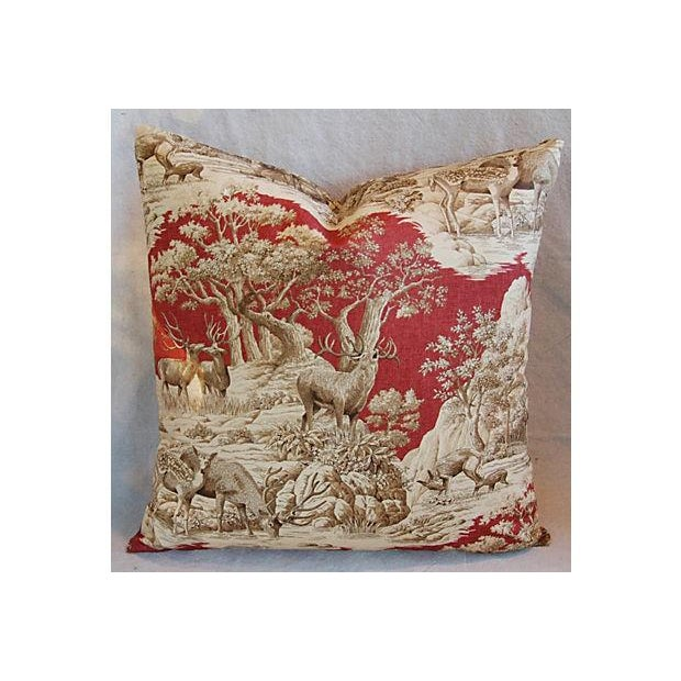 Designer French Woodland Deer Toile Pillows - Pair - Image 4 of 8