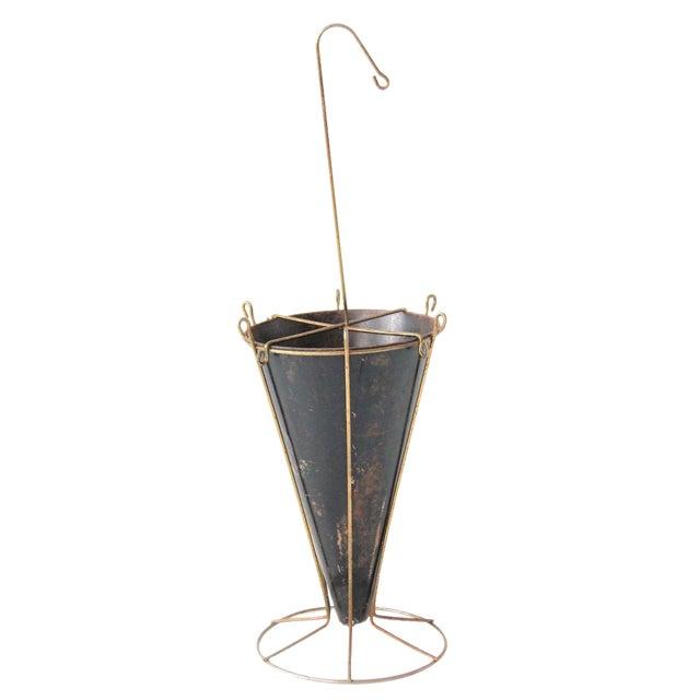 Umbrella Stand Ireland: Mid-Century Vintage Brass & Black Umbrella Stand