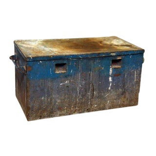 Rusted Blue Metal Trunk