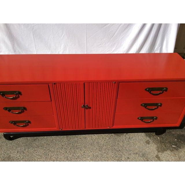 American of Martinsville Vintage Asian Red Dresser - Image 2 of 11